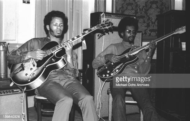 Sly Stone and Freddie Stone of the psychedelic soul group 'Sly And The Family Stone' rehearsing for a performance on the TV show 'Kraft Music Hall'...