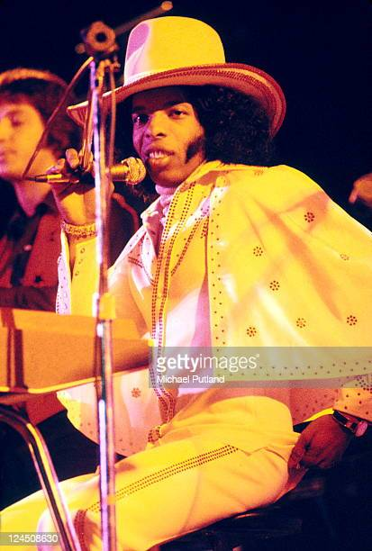 Sly Stone of Sly And The Family Stone performs on stage at White City Stadium London 15th July 1973