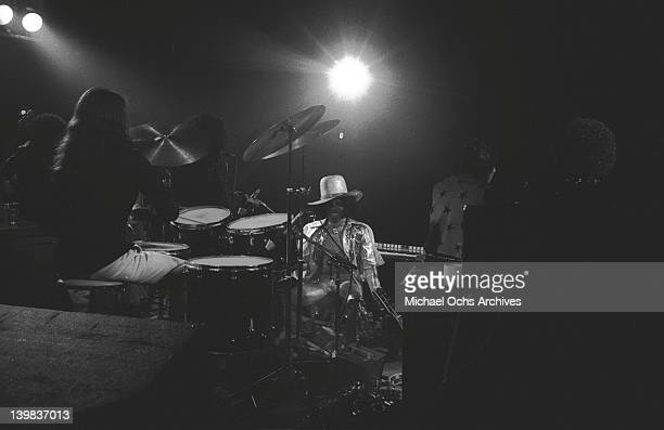 Sly Stone of the psychedelic soul group 'Sly The Family Stone' performs onstage on August 3 1973