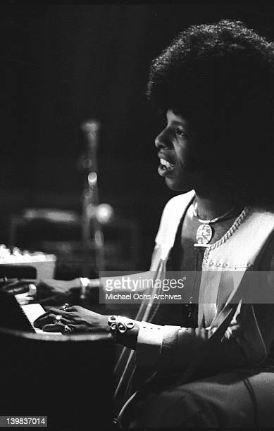 Sly Stone of the psychedelic soul group 'Sly The Family Stone' plays piano on September 17 1972