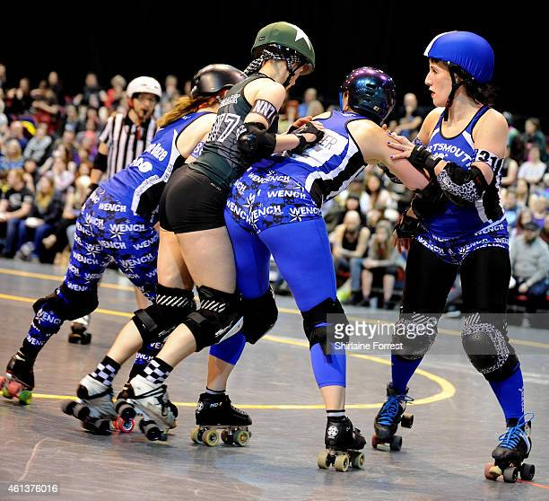 Smack Mamba of Manchester Roller Derby's Checkerbroads bouts against Portsmouth Roller Wenches in the Tattoo Freeze Roller Derby Tournament 2015 at...
