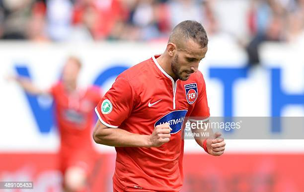 Smail Morabit of Heidenheim celebrates after scoring his team's second goal during the Third League match between 1 FC Heidenheim and SpVgg...