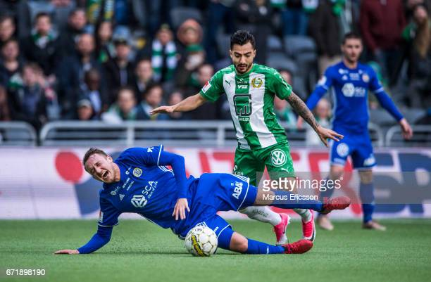 Smajl Suljevic of GIF Sundsvall and Jiloan Hamad of Hammarby IF during the Allsvenskan match between Hammarby IF and GIF Sundsvall at Tele2 Arena on...