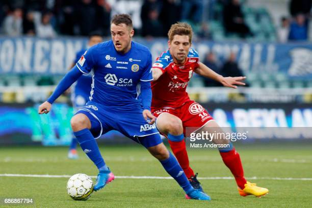 Smajl Suljevic of GIF Sundsvall and Mikael Boman of IFK Goteborg during the Allsvenskan match between GIF Sundsvall and IFK Goteborg at Idrottsparken...