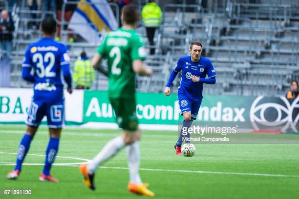 Smajl Suljevic of GIF Sundsvall during an Allsvenskan match between Hammarby IF and GIF Sundsvall at Tele2 Arena on April 23 2017 in Stockholm Sweden