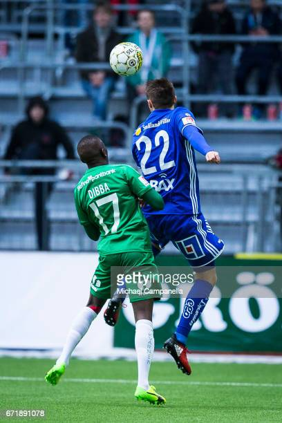 Smajl Suljevic of GIF Sundsvall in a duel with Pa Dibba of Hammarby IF during an Allsvenskan match between Hammarby IF and GIF Sundsvall at Tele2...