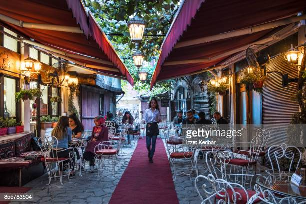 Small alley with small restaurants or cafes on each side at Safranbolu town, Karabuk, Turkey
