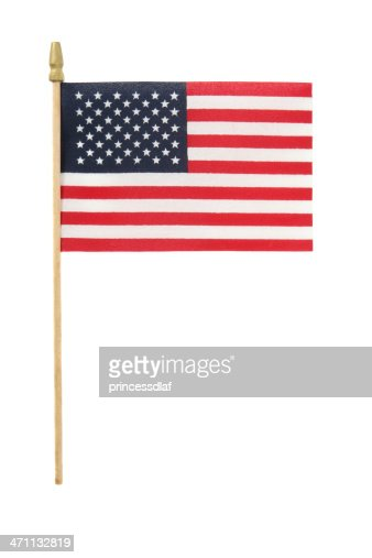 Small American flag on plastic stick on white background