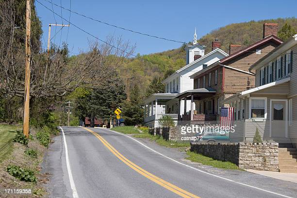 小型のアメリカ村のメインストリート、アパラチアン山脈のペンシルベニア