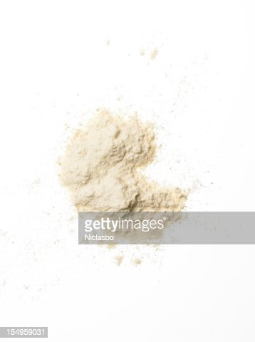 Small amount of flour on a white background