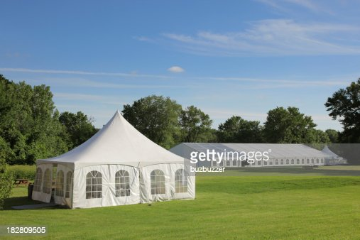 Small and large celebration tents in a park
