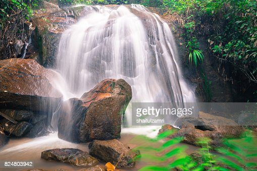 Small and safe water flows, cool air and green scenery are attractions that you can enjoy when you visit Gombak waterfall in Selangor, Malaysia : Stock Photo