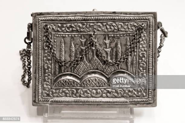 Small antique silver Qoran bag, probably manufactured  in Central Asia