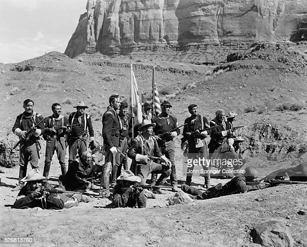 A small army group waits for a battle with a Native American war party in the 1948 film Fort Apache