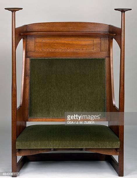 Small Art Nouveau style sofa in Charles Rennie Mackintosh style France 20th century Beauregard Saint Jean Castle
