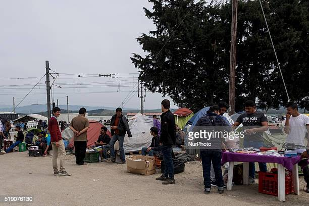 A small bazar has been set up on the side of the road by refugees They usually sell mobile batteries food and cigarets Idomeni Greece 2 April 2016...