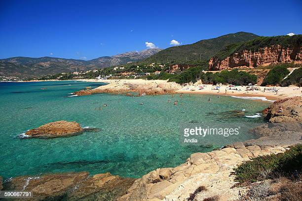 Small beach before the village of Sagone north of Ajaccio Swimming creek cliffs rocks 2008