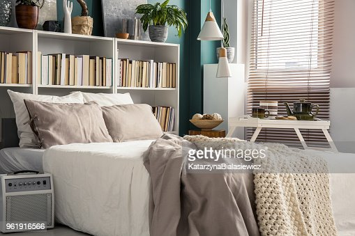 Small bedroom with designer decor : Stock Photo