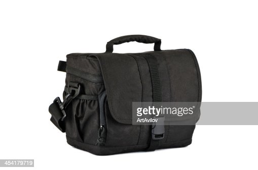 Small, black photo bag : Bildbanksbilder