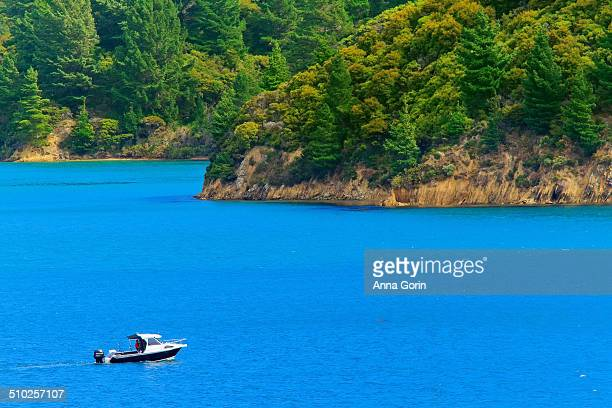 Small boat on Marlborough Sounds, New Zealand