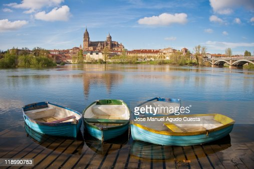 Small boats in Salamanca´s river.