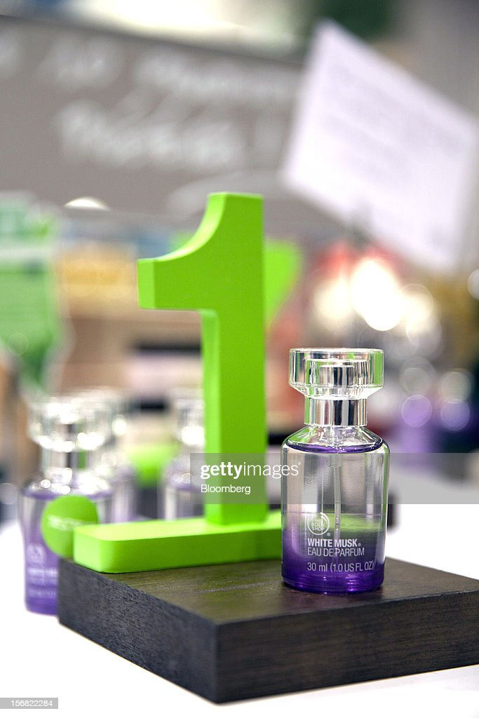 A small bottle of Body Shop White Musk Eau de Parfum is seen on display at a store in Paris, France, on Wednesday, Nov. 21, 2012. Body Shop International Plc Chief Executive Officer Sophie Gasperment has introduced organic lines and updated products like Hemp Hand Protector with Community Fair Trade ingredients after L'Oreal, the world's largest maker of cosmetics, bought the company in 2006. Photographer: Balint Porneczi/Bloomberg via Getty Images