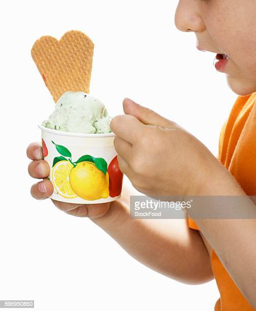 Small boy eating peppermint ice cream from a small tub