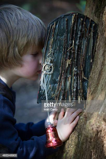 A small boy looks inside a fairy door at the bottom of a tree in Wayford Woods on March 6 2015 in Crewkerne England Over the past few years more than...