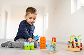 Small boy playing with little brick block toys at home on the floor having fun