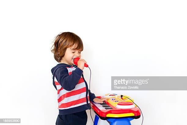 Small boy singing