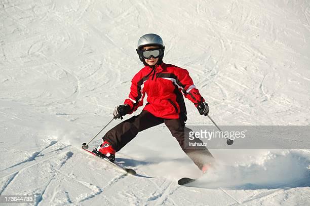 small boy skiing