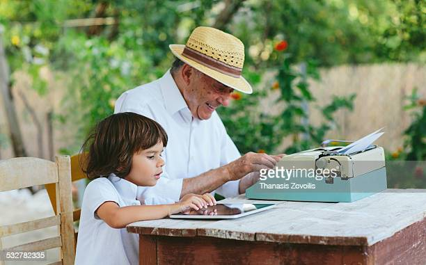 Small boy with his grandfather