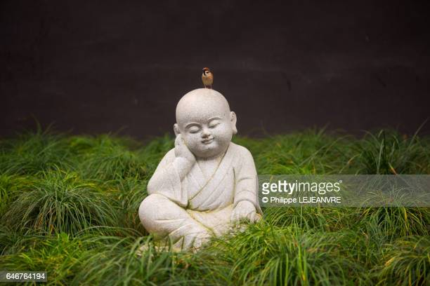 Small buddhist monk statue sitting in grass with a bird on the head