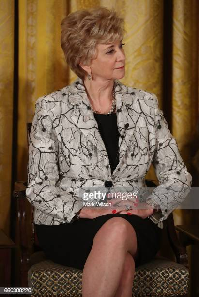 Small Business Administration head Linda McMahon attends an event celebrating Women's History Month in the East Room at the White House March 29 2017...