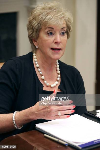 Small Business Administration head Linda McMahon speaks during a listening session with military spouses in the Roosevelt Room at the White House...