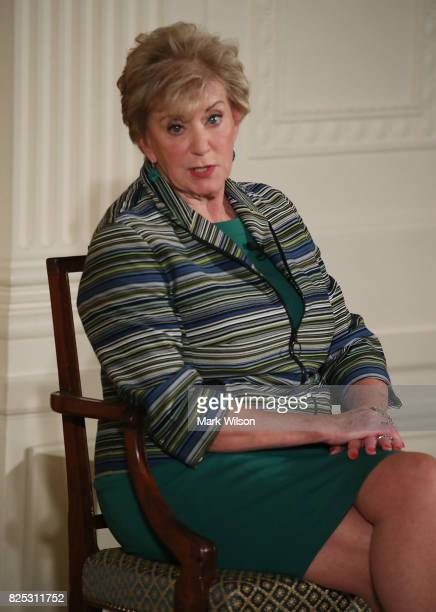 Small Business Administrator Linda McMahon participates in a small business event in the East Room of the White House on August 1 2017 in Washington...