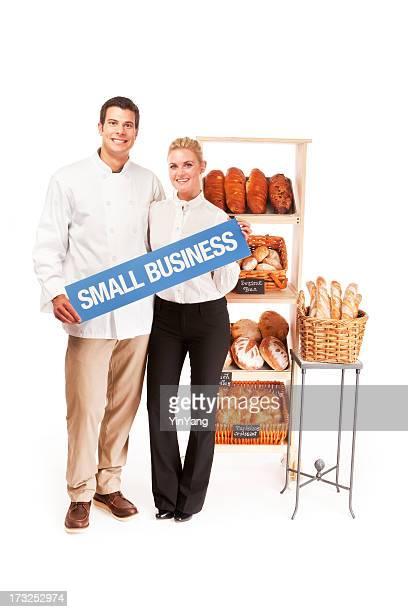 Piccole imprese locali di panetteria proprietari coppia su sfondo bianco