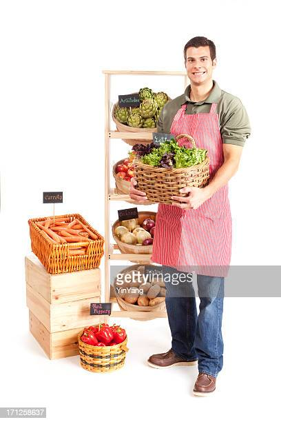 Small Business Local Grocery Store Shop Owner on White Background