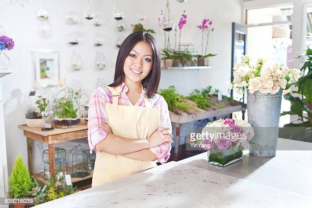 Small Business Owner Florist in Flower Shop Counter Horizontal