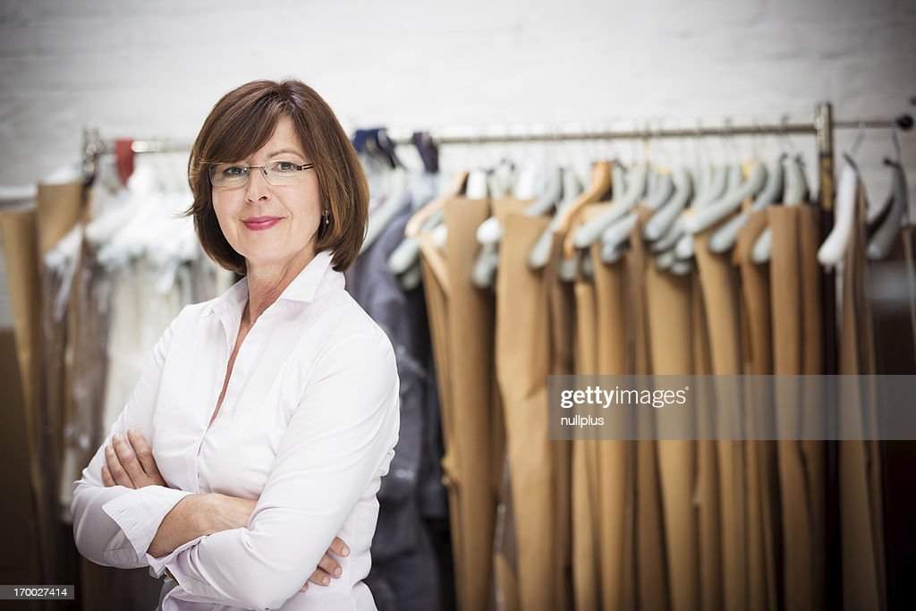 small business owner posing in workshop : Stock Photo