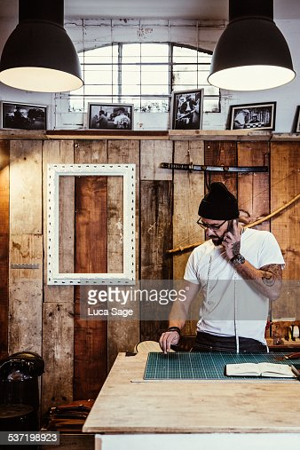 Small Business owner takes a call