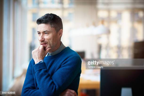 Small business owner thinking about the future