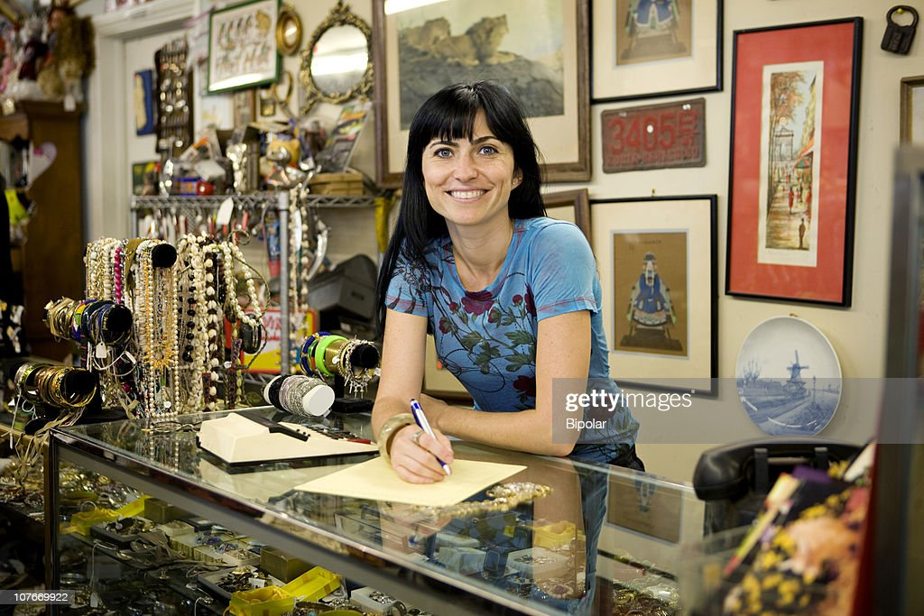 Small Business Owner, Vintage sales store : Stock Photo