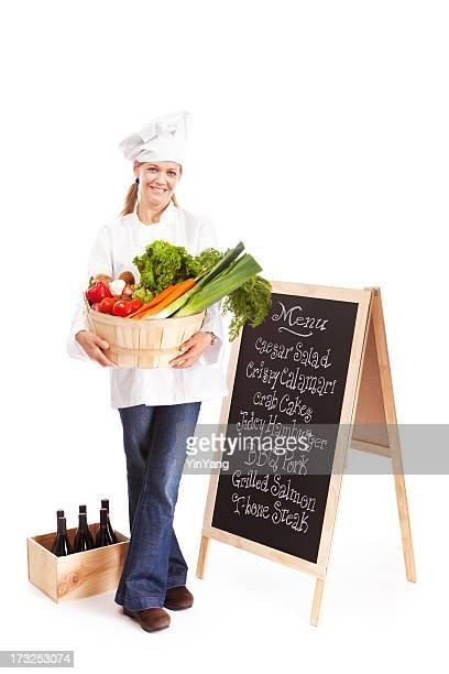 Petite entreprise propriétaire du Chef de Restaurant avec un Menu de produits frais et une planche à repasser
