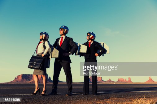 Small Business Team dressed in Jetpacks in Monument Valley