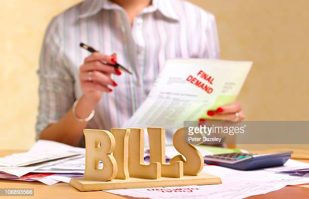 Small business woman housewife dealing with tax