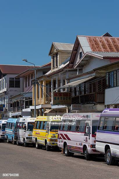 Small busses for public transportation in  Paramaribo