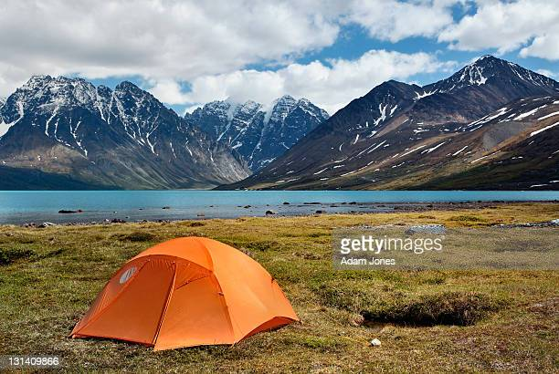 Small camping tent in wilderness