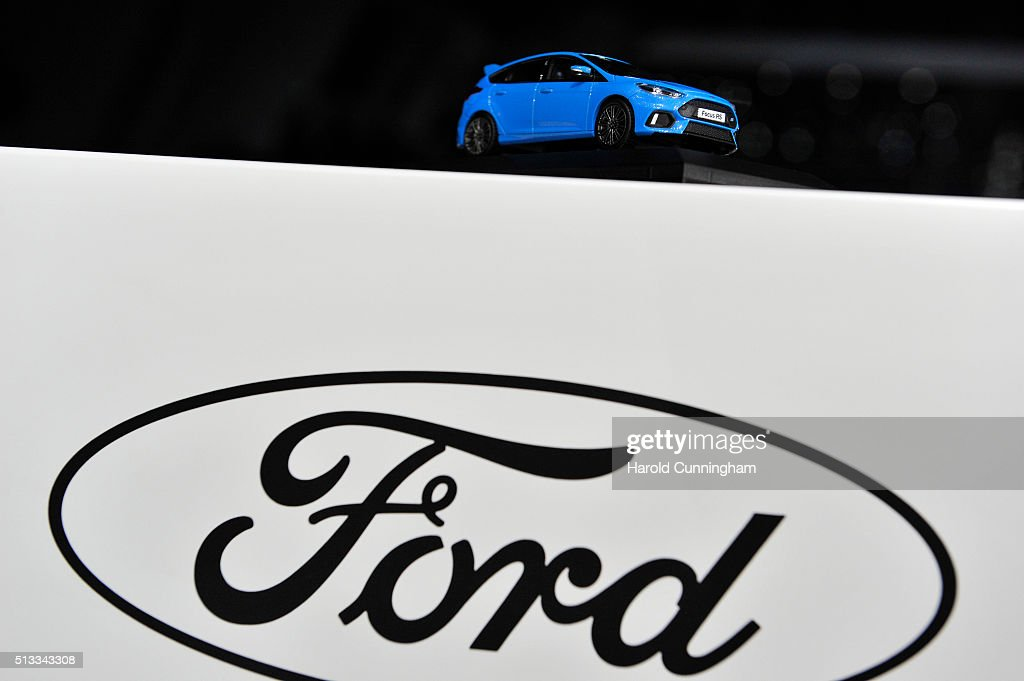 A small car stands above a Ford logo during the Geneva Motor Show 2016 on March & Ford Motor Company Stock Photos and Pictures | Getty Images markmcfarlin.com