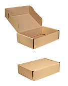 Small cardboard boxes on white background with clipping path